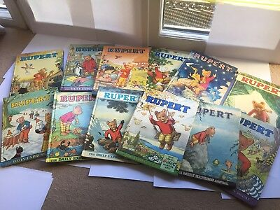 19  X RUPERT THE BEAR Annuals 1960s, 1970's & 1980's - used