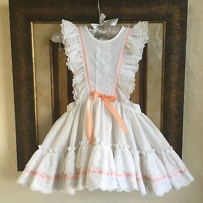 Vintage Pinafore 3t Full Circle Ruffles Peach Ribbon Lace Dainty