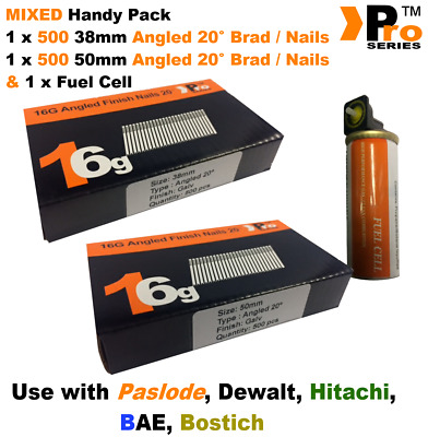 38mm + 50mm Mixed 16g ANGLED Nails, 2 x 500 pack + 1 x Fuel Cell for Paslode, A2