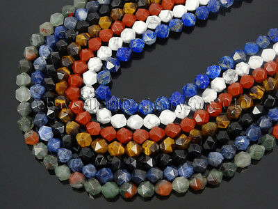 Natural Gemstones 24 Faceted Polygons Spacer Beads 14.5'' Strand 6mm 8mm 10mm