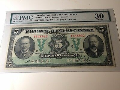1923 Imperial Bank of Canada $5 Bank Note - PMG Graded Very Fine 30