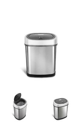 Garbage Bin Stainless Steel Automatic Touchless Motion Sensor Oval Trash Can 12L