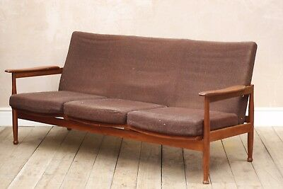 Vintage Retro Mid Century Guy Rogers Three Seater Teak Sofa (upholstery Project)