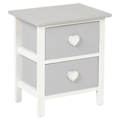 Hartleys 2 Drawer Heart Bedside Cabinet/table Girls Bedroom/nightstand Vintage