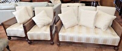 Offer - Wonderful 3 Piece Bergere Sofa & 2 Chairs -  Ivory Upholstery & Cushions