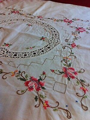 Antique Vintage Greek Cross Stitch Embroidery With Cutouts On Cotton Table Cloth