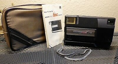 Vintage Tele Disc Black Camera Kodak Flash w/ CASE and Instruction book freeship