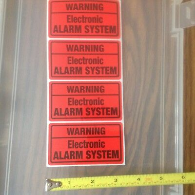Pack of 8 WARNING  BY ELECTRONIC SECURITY SYSTEM Stickers Decal Home Alarm Sign