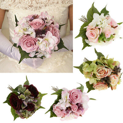Bride Bridesmaid Bouquet Artificial Roses Flower Wedding Party Home Decoration
