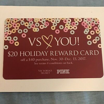 Pink Victoria Secret $20 off $40 Purchase Holiday Reward Card Valid 11/30-12/15