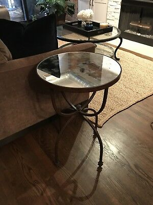 POTTERY BARN LOUISA CoffeeCocktail Table Glass And Iron Base - Pottery barn glass side table