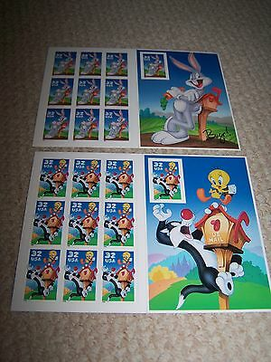 Two Sets of US Stamps-Bugs Bunny and Sylvester and Tweetie