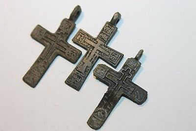 Ancient Russian Bronze Cross! XVII-XVIII Century! (D215)