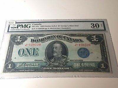 1923 Dominion of Canada $1 Bank Note - DC-25c - Blue Seal PMG Very Fine 30