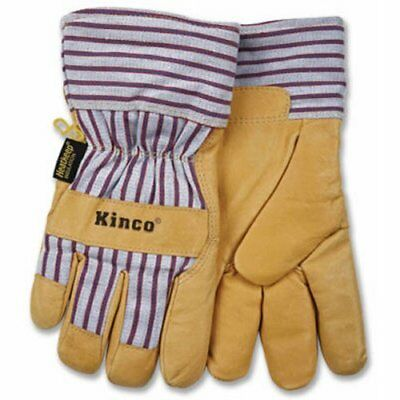 KINCO 1927-L Men's Lined Grain Pigskin Gloves Heat Keep Lining Large Golden