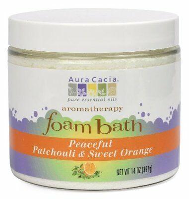 Aura Cacia Aromatherapy Foam Bath Peaceful Patchouli & Sweet Orange 14 oz jar