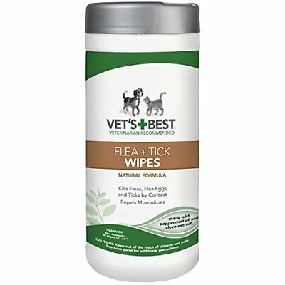 Vet's Best Natural Flea and Tick Wipes for Dogs & Cats 50 Wipes USA made