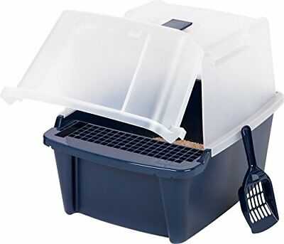 IRIS Large Split-Hood Litter Box with Scoop and Grate Blue