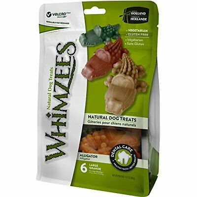 WHIMZEES Natural Grain Free Dental Dog Treats Large Alligator Bag of 6