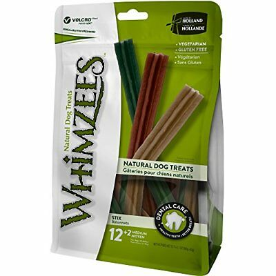 WHIMZEES Natural Grain Free Dental Dog Treats Medium Stix Bag of 14