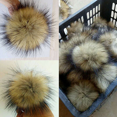 Large Faux Raccoon Fur Pom Pom Ball with Press Button for Knitting Hat DIY