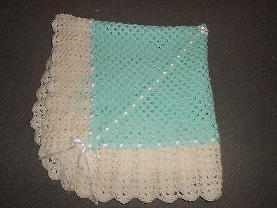 Mint And Cream 40 Inches Hand Crochet Photo Prop Baby, Reborn Blanket , Shawl