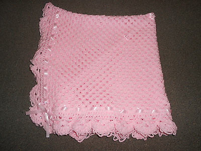 Pink 40 Inches Hand Crochet Photo Prop Baby, Reborn, New Baby Blanket, Shawl