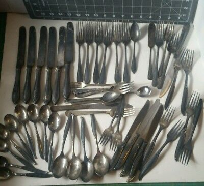 3117) Antique Silverplate Flatware CRAFT LOT of 51 pcs Mixed Knives Forks Spoons