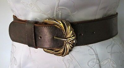 BELT Genuine LEATHER Metallic Gold 1980s VINTAGE Retro Glamour Chic Statement