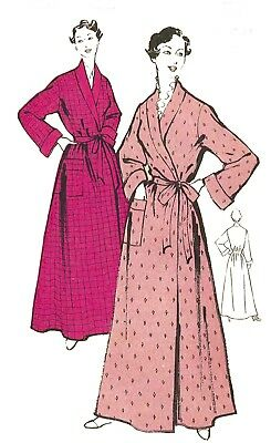 """1950's Vintage Sewing Pattern Women's Dressing Gown Robe House Coat Bust 42"""""""