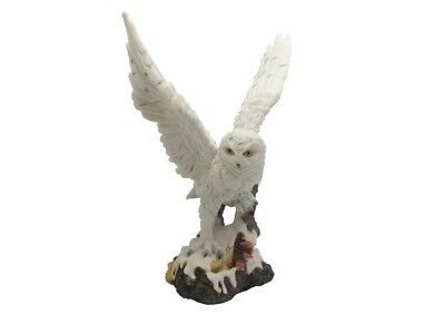 Snow Owl Figurine Collectible Displayed Perched upon Snowy Ground