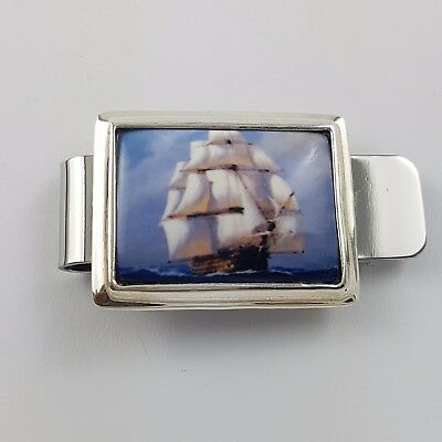 Enamel Vintage Style Galleon Ship Nautical Money Clip 925 Solid Sterling Silver