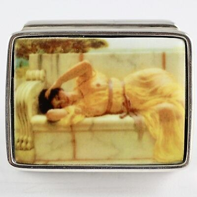 Enamel Erotic Victorian Style Laying Beauty Sterling Silver 925 Pill Box