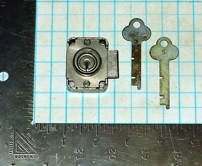 Vtg Antique Old Corbin Cabinet Lock Desk Drawer Furniture File Door & 2 Keys # 5