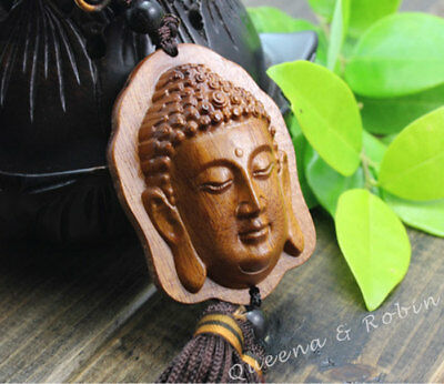 Chinese Rose Wood Carving Shakyamuni Buddha Amitabha Head Car Pendant Amulet