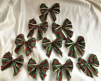 """30 X Red/green 5"""" Tartan with gold  edge tie on  Bows plus 8"""" tree top bow"""