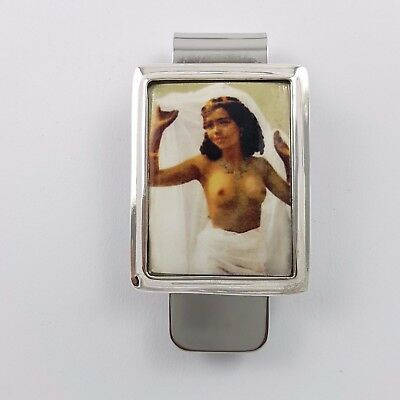 Enamel Victorian Style Nude  Erotic Lady Money  Clip 925 Solid Sterling  Silver