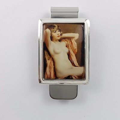 Enamel Victorian Style Nude  Erotic Girl Money  Clip 925 Solid Sterling  Silver