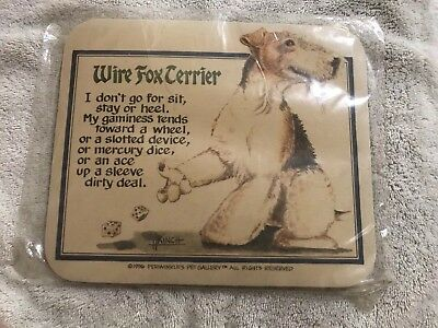 NEW VINTAGE 1996 Wire Fox Terrier MOUSEPAD in Original Wrapping Approx 9x8 in.
