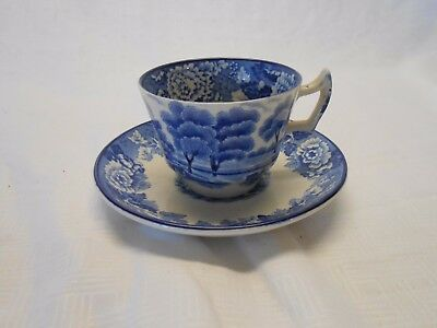 Vintage English Scenery Blue Flat Cup & Saucer Wood & Sons Transferware