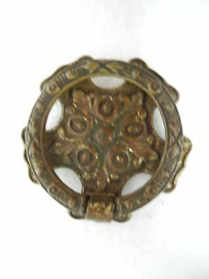"Antique 5 Sided Solid Brass 1.8"" Round Pull Ring Cabinet Drawer / Door Knobs"