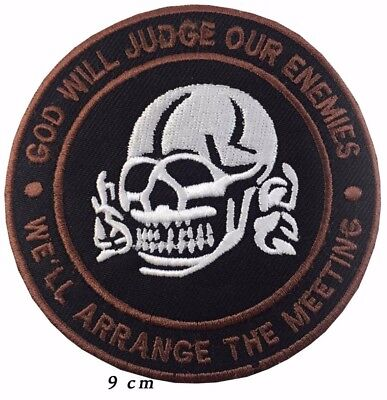 God Will Judge Our Enemies - Embroidered iron/sew On Biker Motorcycle Patch A221