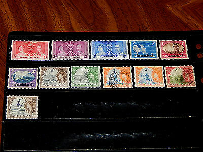 Basutoland stamps - 12 mint hinged and used early stamps - nice !!