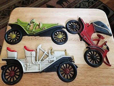 LOT OF 3 VINTAGE ANTIQUE CAR WALL DECOR  1910 BUICK +2 Midwest Metal Art NICE