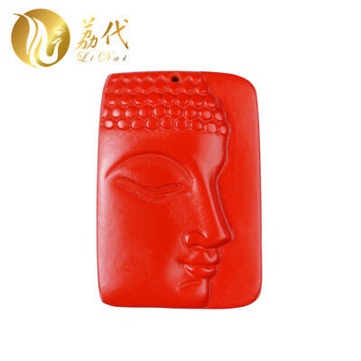 Natural Red Cinnabar Carving Lacquer Chinese Buddha Head Pendant for Necklace