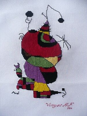 The Woman, The bird & The Fish Cross Stitch Tapestry framed. Surrealism Cross St