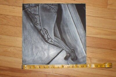 Gothic legs white charcoal drawing