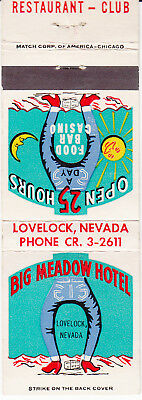 "Vintage Matchbook Cover ""Big Meadow Hotel"" Lovelock Nevada"