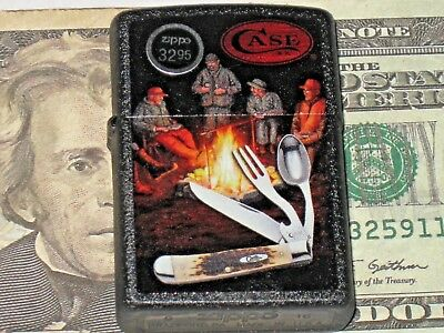 NEW Genuine US Windproof Oil ZIPPO Lighter Case xx HoBo Camp Knife Black Crackle
