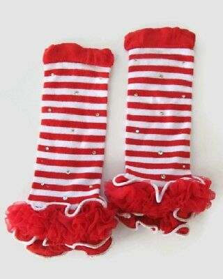 New Christmas Candy Cane Striped Girl's Size Newborn to 5 years Leg Warmers